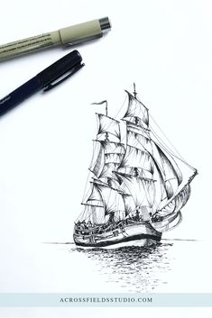 Terrific No Cost ink drawing pen Thoughts Learning the best way to draw with printer quite different from mastering pencil drawing. The simple variance is that y Black Pen Sketches, Black Pen Drawing, Boat Drawing, Ship Drawing, Drawing Sketches, Ink Pen Drawings, Ink Pen Art, Mandala Tattoo, Art Sketchbook
