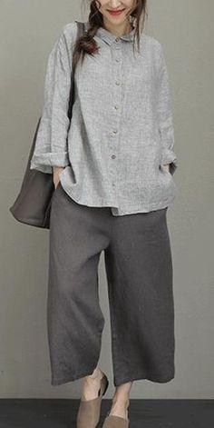 Vintage Striped Linen Shirt Women Loose Blouse - T-shirt-[Fantasylinen] Linen Dresses, Casual Dresses, Casual Outfits, Blouse Ample, Vintage Outfits, Fashion Vintage, Look Fashion, Fashion Outfits, Mode Abaya