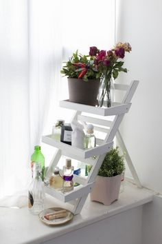 Step it up 'Use a garden plant ladder to store cosmetics and jewellery, along with a few potted plants, perhaps. Alternatively, treasured possessions organised on a window ledge or small console table add a personal touch to otherwise under-utilised space.'
