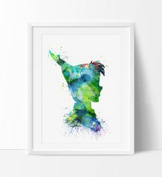 Peter Pan Watercolor Print, PeterPan Nursery Decor, Watercolor Art, Baby Decor…