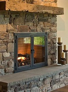 """""""rustic Fireplace"""" Design Ideas, Pictures, Remodel, and Decor - page 29 Rustic Fireplaces, Fireplace Mantels, Mantles, Fireplace Ideas, Wood Interiors, Fireplace Design, New Room, Log Homes, Barn Wood"""
