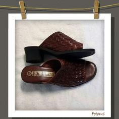 Shoes Slip on sandals genuine leather, wooven designed..gently used The Leather Collections  Shoes Sandals