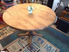 """classic antique hardwood aspen double drop-leaf dining table • 42"""" diameter • butcher-block style 1 3/4"""" thick • turned pedestal • wonderful rich finish • heavy and steady • ideal for dining • $345 o.b.o. if the ad is still here, so is the table"""