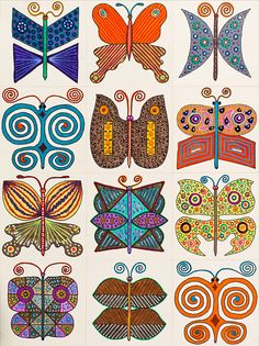 'Untitled by Mario De Biasi from the ''Butterflies'' series 20th Century drawing Private collection Whole artwork view Twelve stylized butterflies...