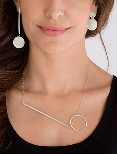 Point+and+Line+Necklace by Rina+S.+Young: Silver+Necklace available at www.artfulhome.com