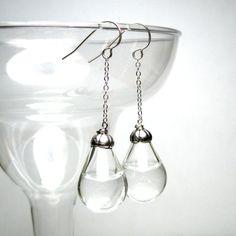 Long Drop Pear Shaped Sterling Earrings