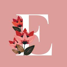 'Venice Floral Monogram E' by werlangpaper Floral Letters, Monogram Letters, Monogram Initials, Aesthetic Letters, Initial Art, Stylish Alphabets, Alphabet Wallpaper, Alphabet Design, Name Art