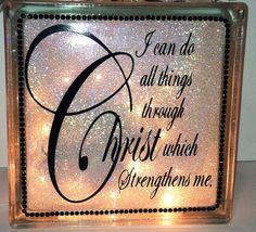 Religious Christian Glass Block/ Handmade by CreativeGlassByBecky