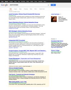 SEO Resume designed as a SERP. Resume of our own @JaredCarrizales