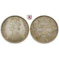 Indien, Britisch-Indien, Victoria, 1/2 Rupee 1897, f.vz: Victoria 1837-1901. 1/2 Rupee 1897 Kalkutta. KM 491; fast vorzüglich 140,00… #coins