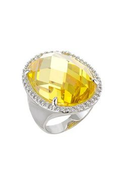 Oval Pineapple Cut Yellow CZ Halo Ring