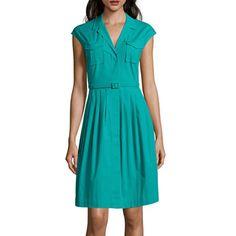jcpenney.com | Liz Claiborne® Sleeveless Belted Patch Pocket Shirtdress