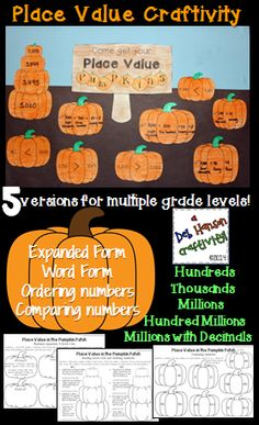 Place Value Pumpkins: A math craftivity- it includes 5 files for multiple grade levels! Skills include expanded form, word form, comparing numbers and ordering numbers. $ Math Place Value, Place Values, Math Bulletin Boards, Third Grade Math, Grade 2, 4th Grade Classroom, Classroom Ideas, Expanded Form, Thanksgiving Math