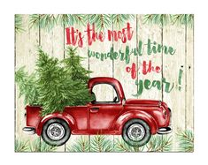 Christmas wall art decor Printable Its the most wonderful time of the year sign Watercolor Christmas tree Rustic Christmas art Red Truck Watercolor Christmas Tree, Christmas Wall Art, Christmas Paintings, Christmas Signs, Christmas Pictures, Christmas Decorations, Christmas Ideas, Christmas Christmas, Christmas Red Truck