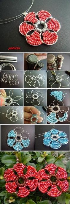 Tutorial on how to make a flower beaded pendant necklace. Craft ideas from LC.Pandahall.com