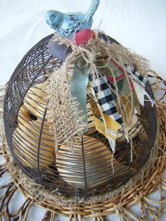 Country French Cottage Wire Cloche by lemonadestore on Etsy, $70.00