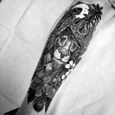 Guy With Lion With Crown Forearm Sleeve Tattoo Design