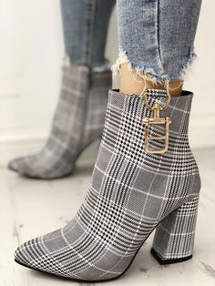 Houndstooth Print Metallic Decorated Chunky Boots Shoes heels Shoe boots Shoes s. High Heel Boots, Shoes Heels Boots, Heeled Boots, Stiletto Boots, Ankle Boots, Heeled Sandals, Shoes Sandals, Sandals Outfit, Heels Outfits