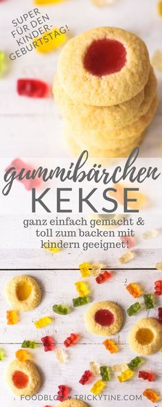 Gummibärchen-Kekse: das ultimative trickytine-Rezept - trickytine recipe for simply baked gummy bear cookies ♥ ️ great for baking with children, for children's birthday parties or advent baking wi Biscuits, Food Cakes, Cookie Recipes, Snack Recipes, Snacks, Healthy Recipes, Cake Au Nutella, Bear Cookies, Baking With Kids