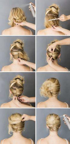 Einfache Hochsteckfrisur Kurze Haare
