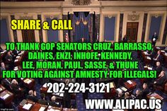ALIPAC Endorses 11 GOP Senators Who Voted Down Amnesty Bills