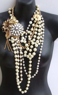 Vintage Pearl- Vintage Enamel Flower and Pearl Statement Necklace by Ashlee Collection on Etsy- Bridal Jewelry. $129.00, via Etsy.