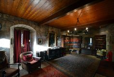 Interior - Bonshaw Tower is an oblong tower house, probably dating from the mid 16th century, one mile south of Kirtlebridge, Dumfries and Galloway, Scotland, above the Kirtle Water. It is adjacent to a 19th-century mansion. Wikipedia l Photo from celticcastles.com