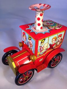 Vintage KO Japan Merry Ball Blower Circus Car Wind Up Tin Toy | eBay