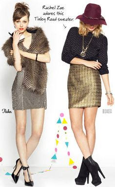 Gotta love textured patterns with shine for the holidays! Love the gold skirt with the darker blouse. Sparkly Skirt, Gold Skirt, Boho Fashion, Fashion Ideas, Fashion Outfits, Winter Style, Autumn Winter Fashion, Sweater Skirt, Benefit Cosmetics