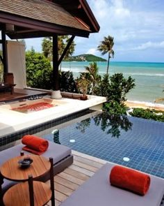 Anantara Lawana Resort & Spa  ( North Chaweng, Koh Samui, Thailand )  At more than 1,700 square feet, Anantara Pool Villas feature a private deck and a private pool. #Jetsetter
