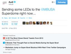 ACHIEVEMENT: My tweet sent for #Audi during the 2013 Super Bowl was a watershed moment, and singlehandedly heralded the #realtimemarketing movement. #RTM