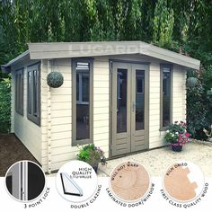 The York Log Cabin by Lugarde has four windows and a double door which lets in a tremendous amount of light, perfect for spending your free time relaxing out of the house or as an airy building for a gym or office space. http://www.gardensite.co.uk/garden-buildings/lugarde-york-log-cabin.htm