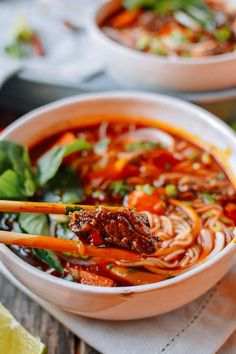 Bo Kho: Spicy Vietnamese beef stew with noodles - World Cuisine Noodle Recipes, Soup Recipes, Cooking Recipes, Rice Noodle Soups, Noodle Bowls, Spicy Food Recipes, Rice Noodles, Recipes Dinner, Drink Recipes