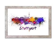 Stuttgart skyline in watercolor INSTANT DOWNLOAD 8x10 inches Poster Wall art Illustration Print Art Decorative Splatters - SKU 0843