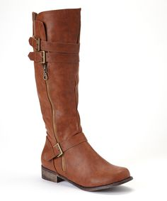 Cognac Double-Buckle Grace Boot | Daily deals for moms, babies and kids