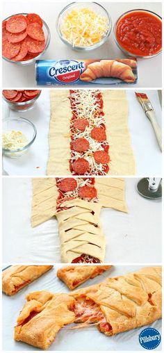 A family fun night couldn't be easier than with this Kid-Favorite Pepperoni Pizza Braid. Guaranteed to please! A family fun night couldn't be easier than with this Kid-Favorite Pepperoni Pizza Braid. Guaranteed to please! Appetizer Recipes, Snack Recipes, Cooking Recipes, Dinner Recipes, Pizza Appetizers, Game Day Appetizers, Appetizer Ideas, Easy Recipes, Fun Pizza Recipes