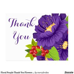business thank you cards Say thank you with flowers! This cute thank you post card features hand drawn purple flowers with red berries nestled in green leaves. Floral thank you Thank You Pictures, Thank You Images, Thank You Messages, Thank You Quotes Gratitude, Hello Spring Wallpaper, Thank You Wallpaper, Thank You Flowers, Happy Birthday Wallpaper, Business Thank You Cards