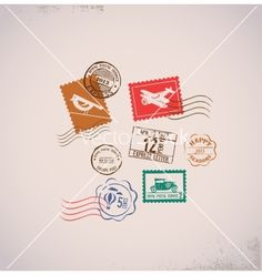 Vintage background with rubber stamps vector - by ma_rish on VectorStock®