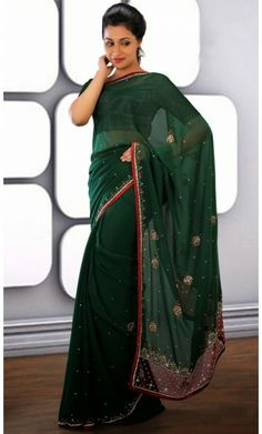 Fascinating Bottle Green Embroidered Saree #Sarees #Sarees-OnlineShopping