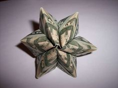 How to make a flower from 3 bills for a Money Lei or any gift.
