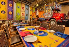 An explosion of colour, creativity, and amazing food, the Dhaba by Claridges was a delight to shoot! Resturant Interior, Bistro Interior, Restaurant Interior Design, Interior Shop, Restaurant Furniture, Cute Coffee Shop, Coffee Shop Design, Cafe Design, Cozy Coffee