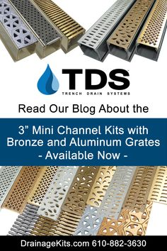 """Now Available: The versitile 3"""" NDS Mini Channel kits with decorative bronze and aluminum grates are perfect for your home improvement project. Read our blog for more info and get your kit at DrainageKits.com. 610-882-3630 #homeimprovement #trenchdrainsystems #minichannel #bronzegrates #aluminumgrates #pool #patio #deck #drains #minichannel Trench Drain Systems, Drainage Solutions, Home Improvement Projects, Pools, Channel, Deck, Bronze, Kit, Blog"""