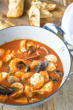 Brodetto di pesce is authentic, Italian seafood stew. A delicious selection of seafood cooked in a tomato sauce flavored with wine and garlic. It's comfort food for seafood lovers.