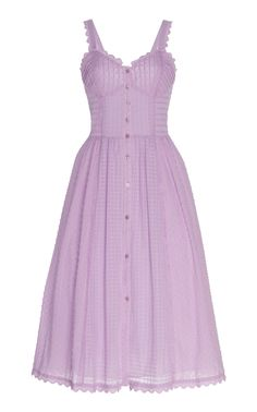 Edith Pintucked Cotton Midi Dress by Temperley London Classy Outfits, Cute Outfits, Looks Style, My Style, Mode Kpop, Purple Dress, London Fashion, Aesthetic Clothes, Pretty Dresses