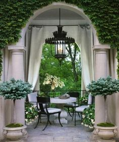 "tablescapes, terraces, courtyards, patios, etc. Alfresco ""To take place in the open air"". Outdoor Rooms, Outdoor Dining, Outdoor Gardens, Outdoor Curtains, Outdoor Seating, Garden Seating, Hang Curtains, Outdoor Lantern, Formal Gardens"