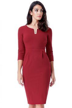 aa2882118c44 Fashion e-Shop Φόρεμα μίντι με μανίκι V και σούρες στην μέση - Κόκκινο