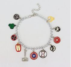 Super Hero Charm Bracelet This is a very very cool superhero charm bracelet Item Type:Bracelets Fine or Fashion:Fashion Style:Trendy Gender:Unisex Setting Type:Tension Mount Material:Alloy Chain Type: