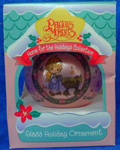 """PRECIOUS MOMENTS """"Bringing God's Blessing to You"""" Angel at Manger Glass Ornament #PreciousMoments"""