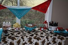 Cute decor, turquoise, red and jersey print with haystacks everywhere!