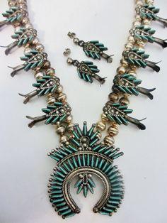 Vintage Sterling Silver Zuni Turquoise Native American Eva Wyaco Squash Blossom Necklace & Pierced Earrings Set.  via Etsy.